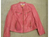Ladies leather jacket size 16 bright pink