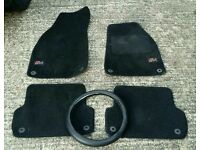Genuine Audi A4 B6/B7 2001-2008 Tailored car mats and steering wheel cover.