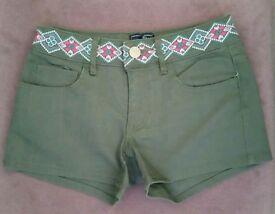 Girl's Khaki Shorts. Age 11-12 Years.