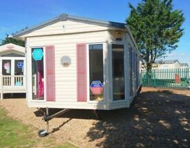Static caravan by the sea