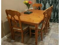 Dining table and chairs (wood and fabric)