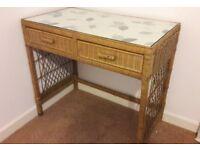 Wicker 2 drawer glass top desk/dressing table