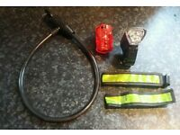 Bike bicycle accessories. Lock, light and reflectors