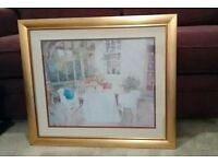 Richard Akerman watercolour print in bespoke gold frame with double mount
