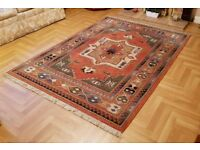 John Lewis Kabir Indian Style Red Patterned Rug with fringes