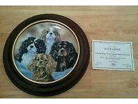 DANBURY MINT Cavalier King Charles Spaniel plate and plate frame