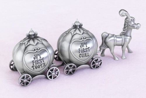 Fairy Tale coach pewter tooth and curl boxes baby shower gift princess gift