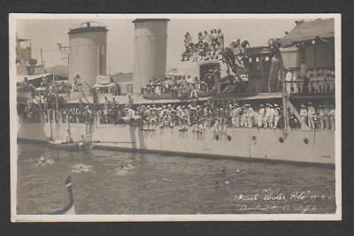 Royal Navy cruiser HMS CARDIFF at Malta ..  Water Polo match  17.8.29