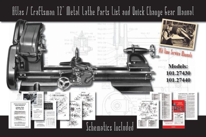 """Atlas/Craftsman 12"""" Metal Lathe Parts List & Quick Change 101.27430 & 101.27440"""