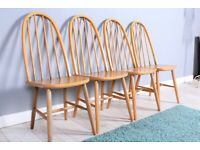 DELIVERY OPTIONS - 4 X MID CENTURY ERCOL STYLE HIGH BACK CHAIRS STURDY SET