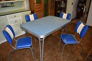 Blue Retro 50s 60s Laminex Dining Table and Chair Set Bull Creek Melville Area Preview