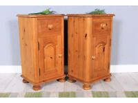 DELIVERY OPTIONS - 2 SOLID PINE BEDSIDE TABLES DRAWER & CUPBOARD BUN FEET