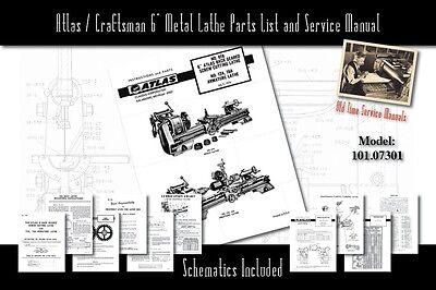 Atlascraftsman 6 Metal Lathe 618 101.07301 Service Manual And Parts Lists