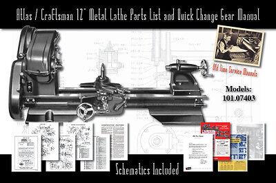 """Atlas/Craftsman 12"""" Metal Lathe Parts List 101.07403 Parts List & Quick Change"""