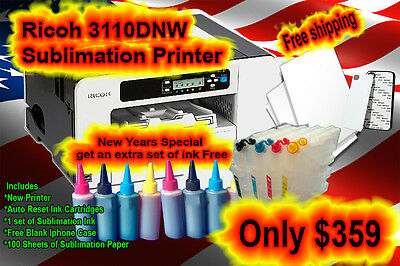 Ricoh SG 3110DNW Sublimation Printer with Ink and Paper Not Epson sublimation