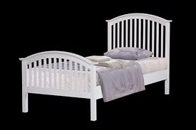New 3ft single white wooden bed free delivery