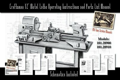 """Craftsman 12"""" Metal Lathe Operating and Parts List Manual 101.28900 & 101.28910"""