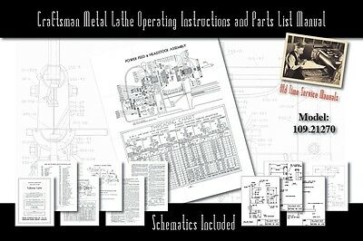 "Craftsman 6"" Metal Lathe Operating Instructions and Parts List Manual 109.21270"