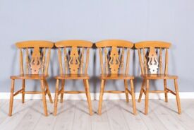 DELIVERY OPTIONS - 4 X SOLID BEECH FIDDLE BACK FARMHOUSE KITCHEN CHAIRS