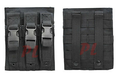 MOLLE Triple Airsoft MP5 Magazine Pouch .22 or 9mm Mag Ammo Flap PAL-BLACK