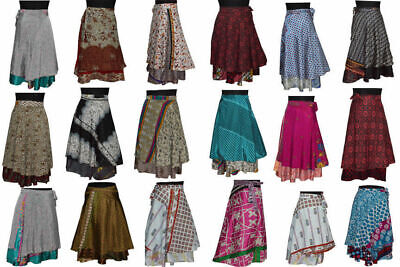 Indian Wrap Around Skirt Wholesale lot of 5 Pcs Printed Reversible Two Layer](Skirt Wholesale)