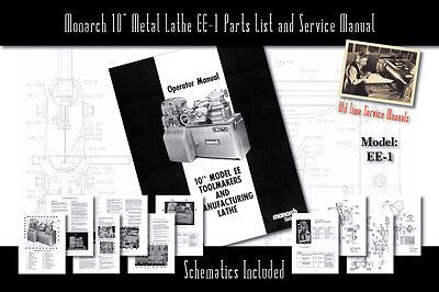 Monarch 10 Metal Lathe Ee-1 Owners Manual Schematics And Parts List