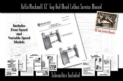 Deltarockwell 12 Gap Bed Wood Lathes Service Owners Manual Parts List