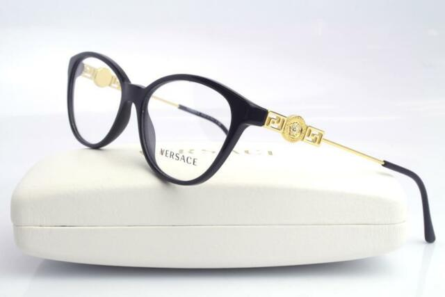 versace 3215 eyeglasses frames gold black gb1 authentic 52mm