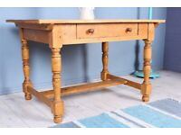 DELIVERY OPTIONS - CHARMING OLD RUSTIC ANTIQUE PINE KITCHEN TABLE WITH A DRAWER