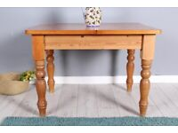 DELIVERY OPTIONS - SMALL FARMHOUSE PINE KITCHEN TABLE WITH TURNED LEGS