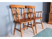 DELIVERY OPTIONS - 2 SOLID BEECH FIDDLE BACK FARMHOUSE CARVER CHAIRS IDEAL TO PAINT