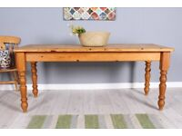 DELIVERY OPTIONS - 6 FT FARMHOUSE PINE KITCHEN TABLE WITH TURNED LEGS WAXED