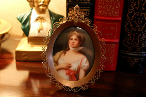 Antique Miniature Portrait on Porcelain of Queen Louise of Prussia K & O Co.