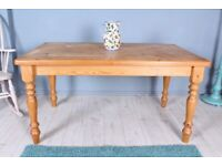 DELIVERY OPTIONS - RUSTIC 5 FOOT SOLID PINE FARMHOUSE KITCHEN TABLE SEATS 6