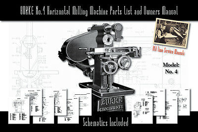 Burke Model No.4 Horizontal Milling Machine Army Service Manual And Parts Lists