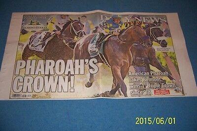 2015 New York Daily News American Pharoah Triple Crown Complete Newspaper 6 7 15