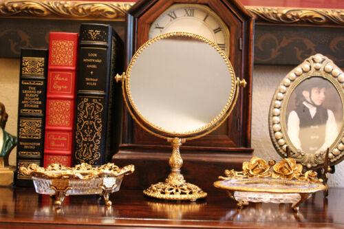 Vtg 3pc Stylebuilt Vanity Accessory Lot Gold Roses Swivel Mirror