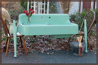 1930's Seafoam Green Vintage Antique Farmhouse Farm Sink Dual Bay