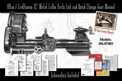 Atlascraftsman 12 Metal Lathe 101.07403 Service Manual Parts Lists Schematics