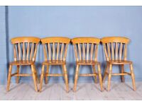 DELIVERY OPTIONS - 4 RUSTIC OLD SLAT BACK FARMHOUSE BEECH CHAIRS STURDY SOLID