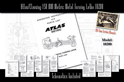 Atlasclausing 150 Mm Metric Metal Turning Lathe 10200 Service Manual Parts List