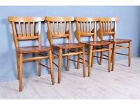 DELIVERY OPTIONS - LOVELY OLD VINTAGE SET OF 4 CHAPEL CHAIRS PRAYER BOOK SHELF