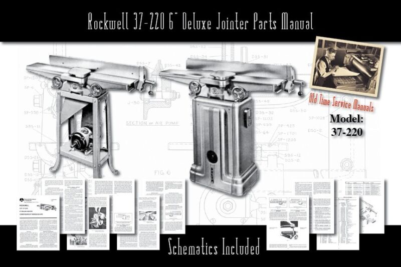 """Rockwell 37-220 6"""" Deluxe Jointer Parts List User Manual"""
