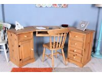 DELIVERY OPTIONS - SOLID PINECORNER DESK 5 DRAWERS 3 SECTIONS WAXED WITH CHAIR