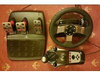 Logitech G27 Force feedback wheel, shifter and pedal set