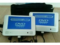 Twin screen car dvd complete with remote car and main charger in bag
