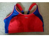 Lovely blue and red shock absorber sports bra 38E