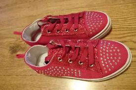 Gorgeous hot pink sparkling girls trainers/converse type sneakers
