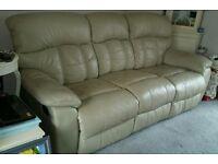 Cream leather 3 seater sofa, manual recliner