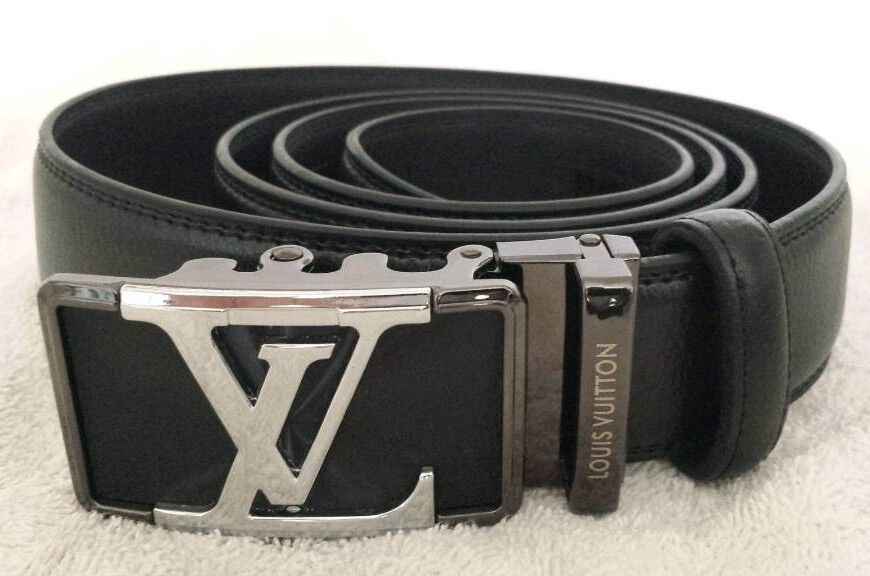 4efcf3b83fa4 Louis Vuitton Black Leather Belt with Silver LV Emblem Buckle